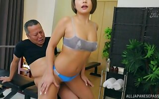 Fit ass Asian babe Imai Kaho takes a fat cock from behind and moans