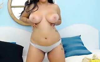 BBW brunette JoleneJoy posing tits