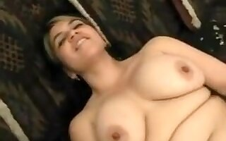 Chubby Overweight Beauty with fine pointer sisters playing with her Unshaved Twat