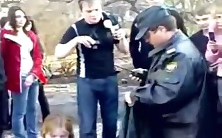 Fat naked brunette russian girl strips in public and gets cuffed by the police