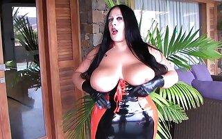 Curvy Latex Slut with Black Gloves - Rubber Blowjob Handjob - Cum on my Tits