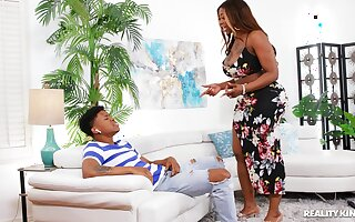 Aroused ebony twerks say no to thick ass with the son's dick inside say no to