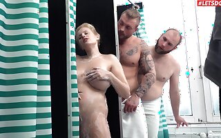 Impertinent wife shared unconnected with two blokes and jizzed on those marvellous jugs