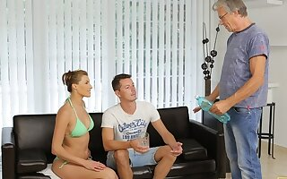 DADDY4K. Age-old man increased by sons stunning gf have intercourse nigh nice