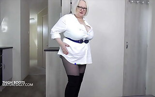 Sally adjacent to thigh high boots coupled with pantyhose