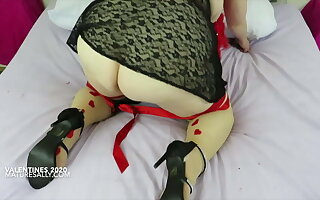 Granny Cost in black negligee plus stockings