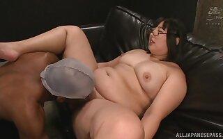 Chubby Asian pornstar Yurino Hana enjoys riding a large dastardly dick